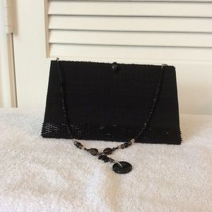 Evening Bag hand crafted in black nubby beaded